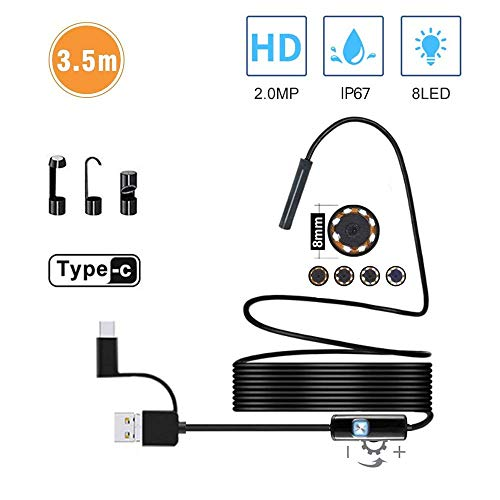 Semi-Rigid USB Endoscope Type C Borescope Inspection Camera, 2.0 MP HD Camera with 8 LEDs for Android Smartphone and Windows Devices-Black (11.5FT)