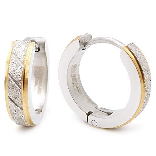 Stainless Steel Mens Hoop Earrings Stripe Gold Color Bevel Edge 16mm