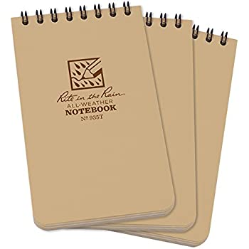 """Rite In The Rain All Weather Tactical Pocket Notebooks, 3"""" L x 3"""" W x 5"""" H, Tan, 3 Count"""