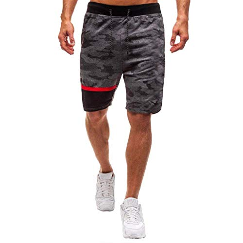 (MTENG Men's Casual Classic Fit Elastic Jogger Gym Shorts Camouflage Stitching Casual Pants, Sweatpants, Home Pants(Dark Gray,L))