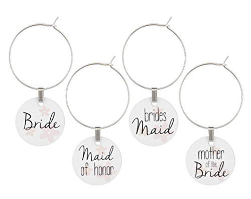 Wine Glass Charms for Wedding - Bridal Party Set of Rings, Tags, Shower Favors