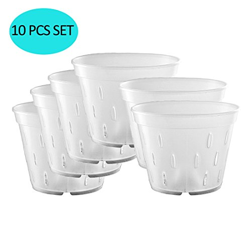 YIKUSH 5.5 inch Orchid Clear Flower Pot Plastic Planter Breathable Slotted-10Pack
