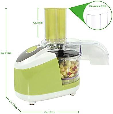 Robot de cocina Chef – El pequeño todo könner – Color: Verde – Cortes – Talón – Para laminar – rallar – Puré – adecuado para verduras, frutas, carne, pescado uvm. – Utensilios de cocina – Cocinar – Preparar – Cocina: Amazon.es