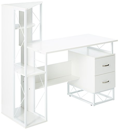 Mayline 1002WW SOHO Storage Desk with Shelving and 2-Drawer Pedestal, Textured White ()