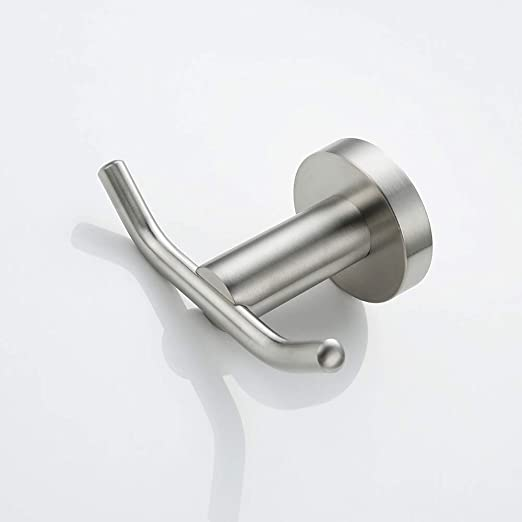 Rauken Wall Mounted Double Robe Hook Towel Holder SUS304 Stainless Steel Brushed Finish DH001