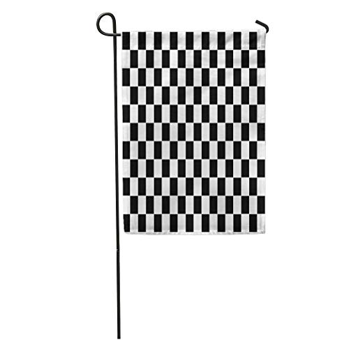 YhouqukehTshirt Garden Flag Finish Checkered Flag Racing White Line Check Chequered Motocross Auto Home Yard House Decor Barnner Outdoor Stand 12x18 Inches Flag ()