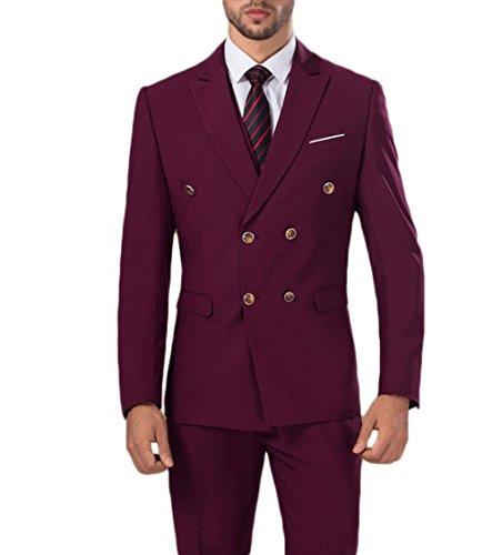 AK Beauty Men's Three-Piece Formal Suit (Jacket+Pants+Vest) Red S