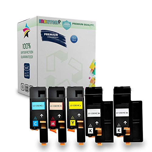 INKUTEN 5PK Dell 1250, 1350, 1355, 1760, 1765 Series High Yield Toner Cartridge - 2 Black, 1 Cyan, 1 Yellow, 1 Magenta - Compatible - For Color Laser 1250c, 1355cnw, C1760nw, C1765nf, C1765nfw