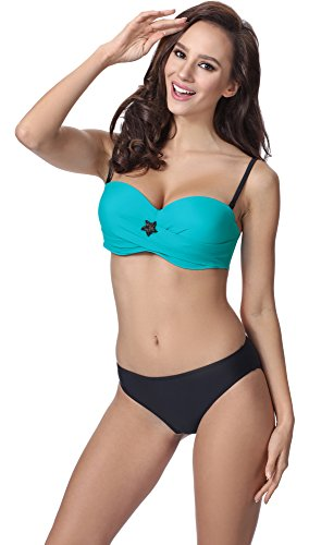 Merry Style Bikini Conjunto para mujer P61962W Turquesa/Negro