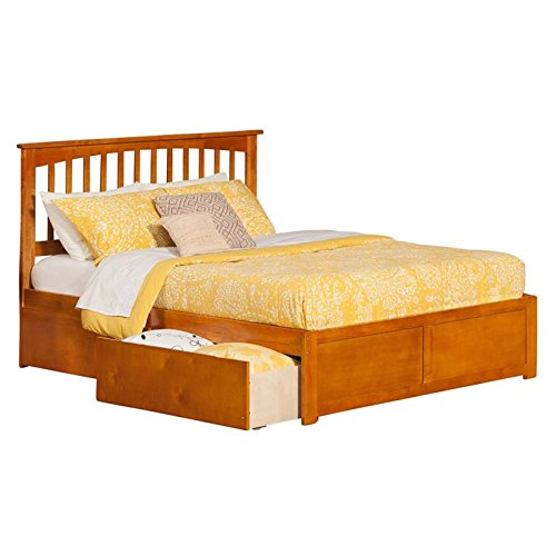 Atlantic Furniture AR8742117 Mission Platform Bed with 2 Urban Bed Drawers, Queen, Caramel Contemporary Mission Style Queen