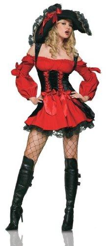[Leg Avenue Women's Vixen Pirate Wench Costume, Black/Red, Medium] (Ladies Black Pirate Costume)