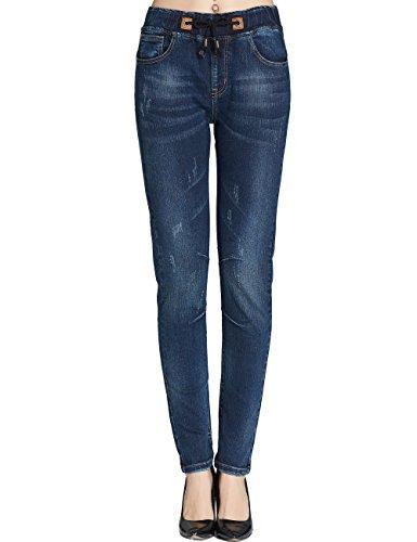 Camii Mia Women's Drawstring Stretch Midrise Regular Fit Tapered Jeans (W27 x L30, Blue) Urban Cowboy Jeans