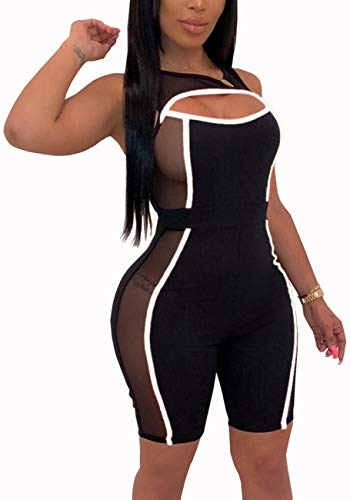 - Yiershu Women's Sexy See Thru One Piece Black Rompers Summer Bodycon Sleeveless Stretchy Short Pants Jumpsuits Hollow Out Scoop Neck Club Outfits
