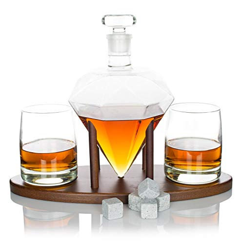 Atterstone Diamond Whiskey Decanter Set, Full Set with Custom Mahogany Decanter Stand, Includes 2 Glasses, 9 Whiskey Stones