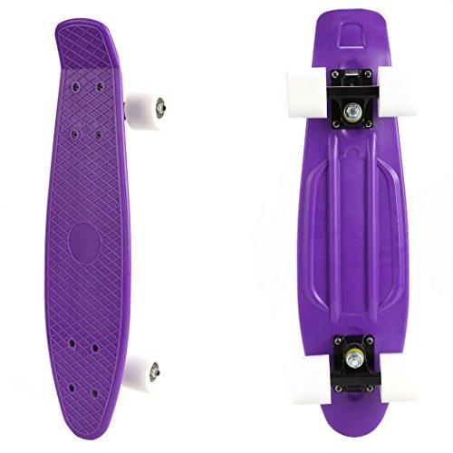 Ancheer-Mini-Cruiser-Skateboard Eine große Vielfalt von Farbe der Platten und Rädern 22 Zoll Kunststoff-Board im Retro-Stil (Lila und Weiß)
