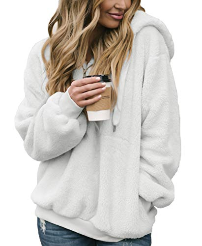 Acelitt Womens 1/4 Zip Neck Oversize Solid Thick Fleece Fuzzy Hoodies Hooded Top Outwear with Pockets White Large