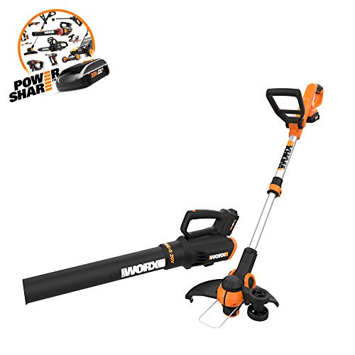 WORX Cordless String Trimmer Blower WG929.1 Combo, 20V 2 batteries, Grass Weed Edger