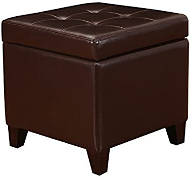 Adeco Bonded Leather Square Tufted Footstool 18 Brown Storage Ottomans Furniture Decor Amazon Com