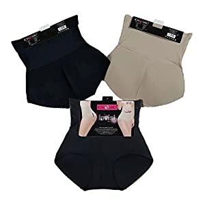 3 Pack High Waist Butt Shaper Seamless Underwear Invisible Women's Butt Lifting Padded Panty Brief-Black×2/Coffe×1-L/XL