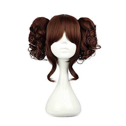 Mcoser Multi-color Lolita Long Curly Clip on Ponytails Cosplay Wig (Dark Brown) (Brown Ponytail Wig)