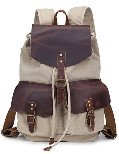 Aidonger Unisex Tela e Pelle Zaino Laptop portatile borsa per Scuola (Beige)