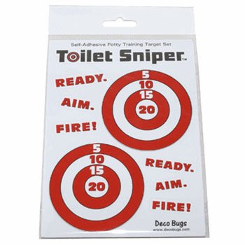Toilet Sniper Potty Training Self-Adhesive Targets (Red & White) Deco Toilet