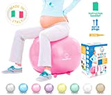 Baby Bump Exercise Birth Ball No-Rolling Stability-Base + Feet/Legs for Pregnancy Fitness Workout - Home Office Desk Seat - Cute Colors and Box for Shower Gift - Heavy Duty - No Air Leak + Pump