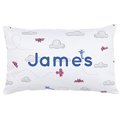 Carousel Designs Personalized Custom Take Flight Lumbar Pillow James Idea - Organic 100% Cotton Lumbar Pillow Cover + Insert - Made in The USA
