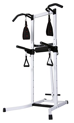 Body Power Multi-Functional Power Tower with Ab Sling Straps and Hand Grip Exercise Handles (included)