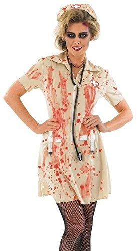 Ladies Zombie Bloody Dead Nurse Halloween Scary Fancy Dress Costume Outfit with Syringe 8-22 Plus Size (UK 8-10) -