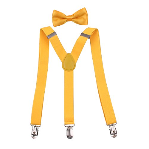 70's Costume Ideas For Boys (GUCHOL Kids Suspenders Bowtie Set Strengthen Clip Adjustable Length 7 to 15 Old for Boys and Girls (Yellow))