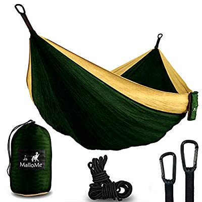 MalloMe Hammock Camping Portable Double Tree Hammocks - Outdoor Indoor 2 Person Beach Accessories - Backpacking Travel Equipment Kids Max 1000 lbs Breaking Capacity - Two Carabiners Free ...