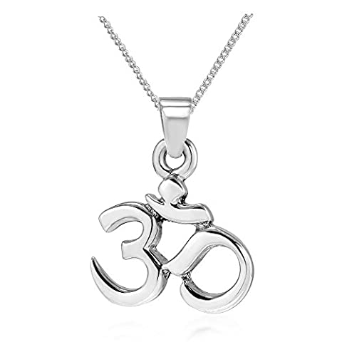 925 Sterling Silver Yoga Om Ohm India Symbol Pendant Necklace, 18