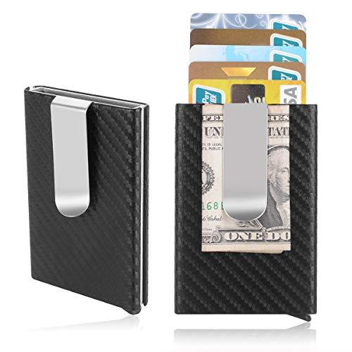 - Men Credit Card Holder, Metal Money Clip,Carbon Fiber Leather Slim Wallets for Men, Mens RFID Blocking Auto Pop up Front Pocket Small Card Case Wallet (black)
