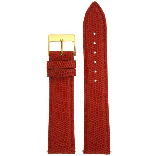 (18mm Watch Band Genuine Leather Lizard Grain Red Quick Release Built-in Pins Gold-Tone Buckle)