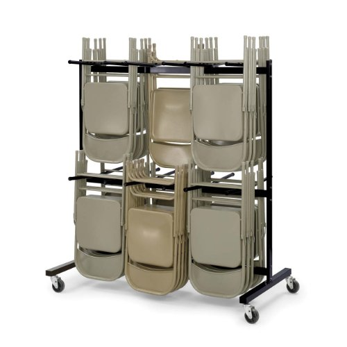 Folding Black Chair Steel - Safco Products Two-Tier Folding Chair Cart, 4199, Commercial Grade Steel, 84 Chair Capacity