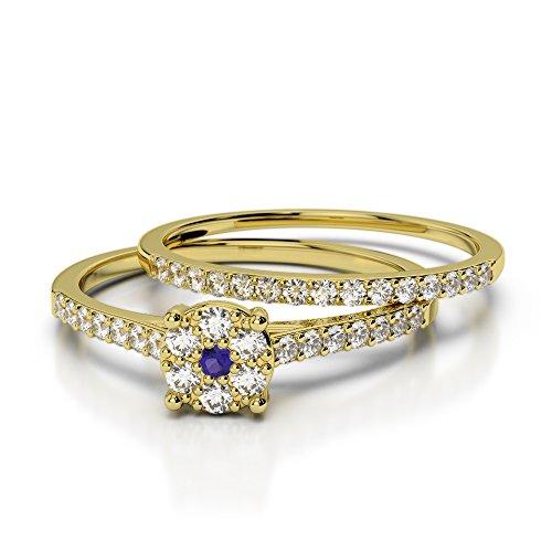 Or jaune 18carats 0,10ct G-H/VS Certifié Coupe ronde tanzanite et diamants Mariage Bague de fiançailles et ensemble de Agdr-1053