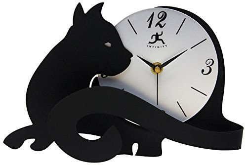 Infinity Instruments Cat Lovers Table  Clock with Adjustable Tail