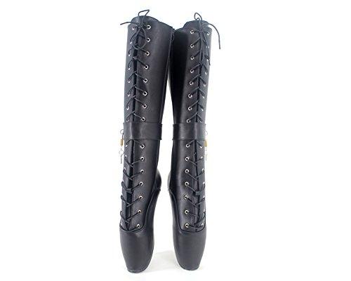 talon padlocks ballet stiletto femme lacets fétiche matt bottes cuir haut sexy 7