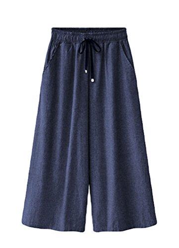 Elegantes Primavera largo Deporte Yilianda Oscuro Largos Verano Para Mujer Casual Algodón Pantalon Pantalones Azul OIOxSgqwz