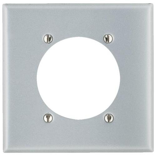Leviton 4934 2-Gang Flush Mount 2.15 Inch Dia. Device Receptacle Wallplate, Standard Size, Steel Plate w/ Aluminum Finish (Range Flush Receptacle)