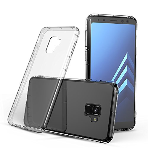 J&D Case Compatible for Galaxy A8 Plus 2018 Case, J&D [Air Buffer] [Drop Protection] Ultra-Clear Shock Resistant Protective Slim TPU Bumper Case for Samsung Galaxy A8 Plus / A8+ 2018 Bumper Case