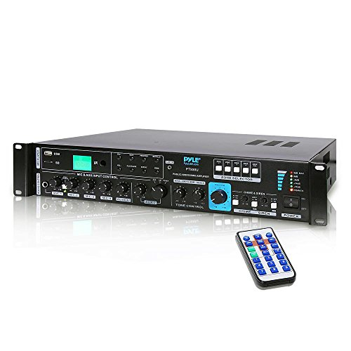 - 70V System Audio Power Amplifier - 700W Rack Mount Portable Home Stereo Sound Receiver Mixer System w/ 70V 100V Speaker Output, RCA AUX IN, USB, Mic Talkover - For Multi Speakers - Pyle PT930U