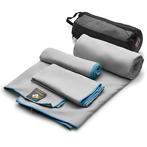 Set of 3 Microfiber Towels Fast Drying Gray Travel Backpacking Yoga Swimming Sports Fitness Exercise Gym Body Face Sweat Towel - Absorbent Swim Shower Bath Pool Antibacterial Camping Foot Day Pack ()