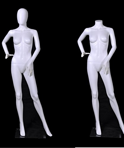 Headless Mannequin (OM® Female Full Body Durable Plastic Abstract Egg Head / Headless Mannequin With Movable Head White (EF14) Made By OM®)