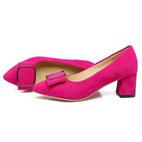 COOLCEPT Women Block Heels Court Shoes Red Qleoo3u