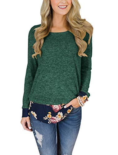Floral Find Women's Floral Layered Hem Tunic Tops Long Sleeve Round Neck T Shirt Blouse
