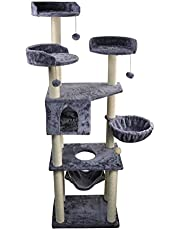 "WIKI-01G 70"" Tall Cat Tower with Hammock, Grey"