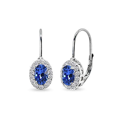 Sterling Silver Blue 6x4mm Oval Halo Leverback Earrings Made with Swarovski Crystals