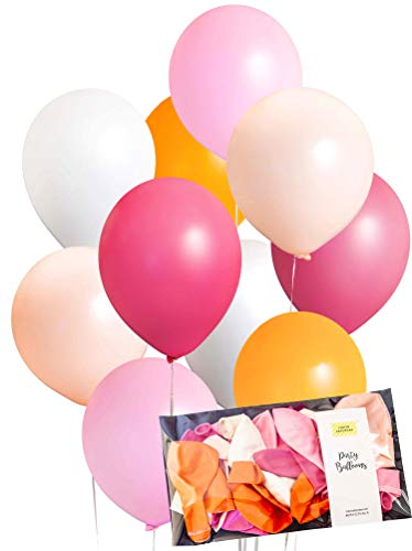 Pink Orange Pastel Brush Balloon 30pcs Thick 12 inch, Matt Finish, Baby Shower, Girl Birthday, Wedding Party Decoration, Photobooth, Backdrop, Balloon Arch - by Tokyo Saturday]()